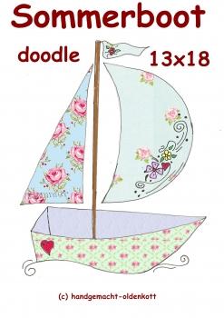 Stickdatei Sommerboot doodle 13x18