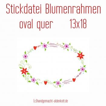Stickdatei Blumenrahmen oval quer 13x18