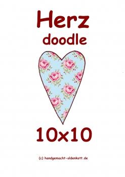 Stickdatei Herz doodle 10x10