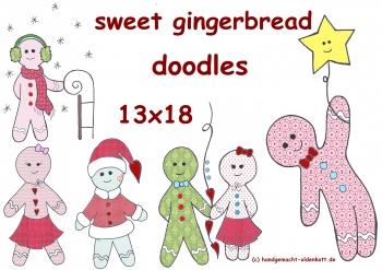 Stickdatei Sweet Gingerbread Lebkuchen Männchen doodles 13x18