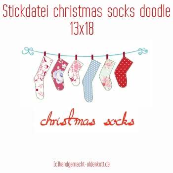 Stickdatei christmas socks doodles 13x18