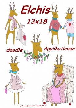 Stickdatei Serie Elchis doodles 13x18