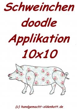 Stickdatei Schwein doodle 10x10