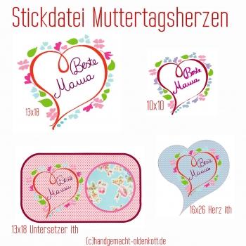 Stickdatei Serie Muttertagsherzen 10x10 13x18 16x26