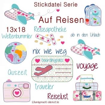 Stickdatei Serie Auf Reisen 13x18