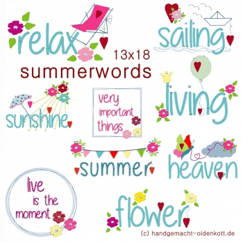 Stickdatei summerwords 13x18