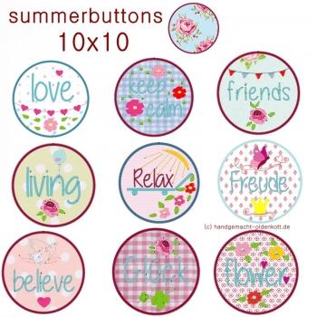 Stickdatei Serie summerbuttons 10x10