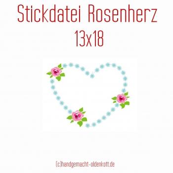 Stickdatei Rosenherz 13x18