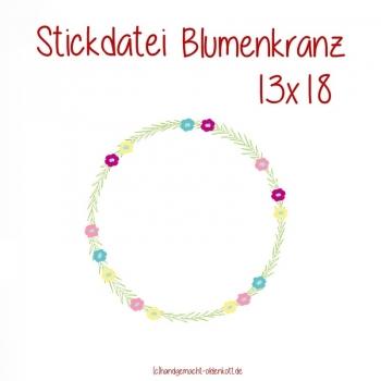 Stickdatei Blumenkranz 13x18