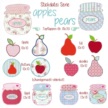 Stickdatei Serie apples & pears