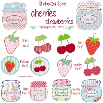 Stickdatei Serie cherries & strawberries