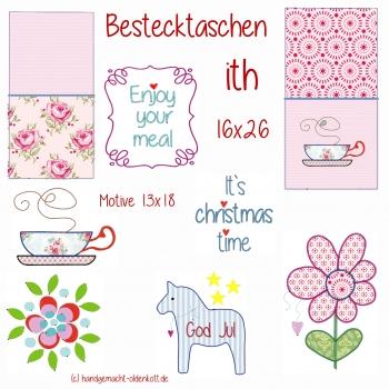 Stickdatei Stickserie Bestecktaschen ith 16x26 13x18