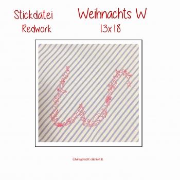Stickdatei Weihnachts W 13x18 redwork
