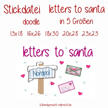 Stickdatei letter to santa in 5 Größen