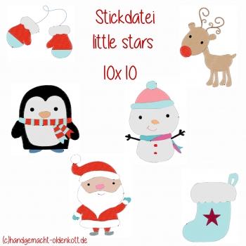 Stickdatei Stickserie little stars 10x10