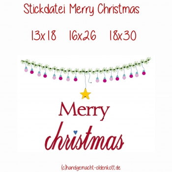 Stickdatei Merry Christmas