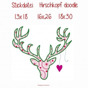 Stickdatei  Hirschkopf doodle