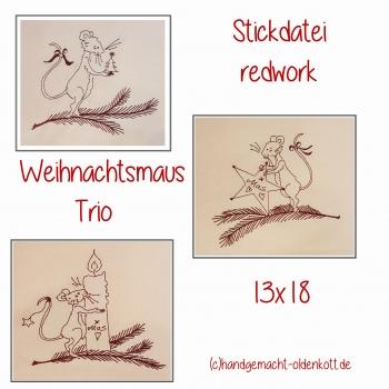 Stickdatei Weihnachtsmaustrio 13x18