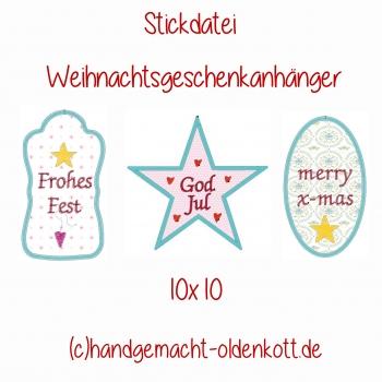 Stickdatei Weihnachtsgeschenkanhaenger 10x10