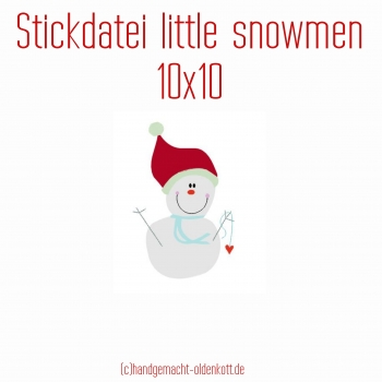 Stickdatei little snowmen 10x10