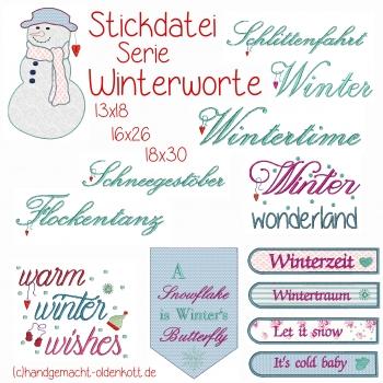 Stickdatei Winterworte