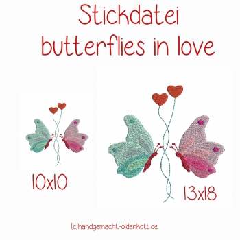 Stickdatei butterflies in love 10x10 13x18