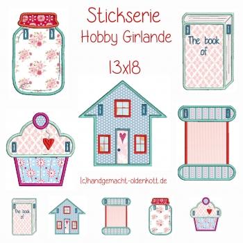 Stickdatei Stickserie Hobby Girlande 13x18 ith