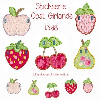 Stickdatei Stickserie Obst Girlande 13x18 ith