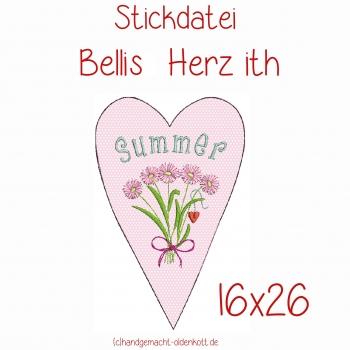 Stickdatei Bellis Herz ith 16x26