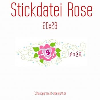 Stickdatei Rose 28 cm