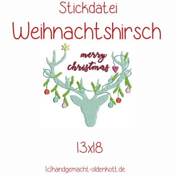 Stickdatei Weihnachtshirsch 13x18