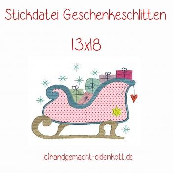 Stickdatei Geschenkeschlitten 13x18