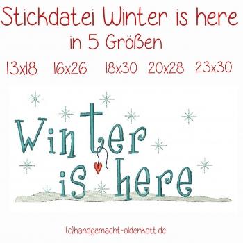 Stickdatei Winter is here in 5 Groessen