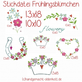 Stickdatei Frühlingsblümchen 13x18
