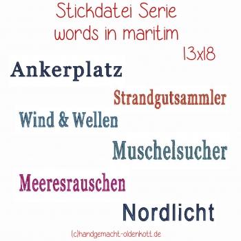 Stickdatei Serie words in maritim 13x18