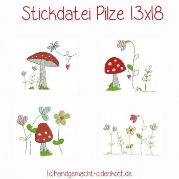 Stickdatei Pilze 13x18