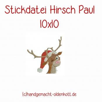 Stickdatei Hirsch Paul 10x10
