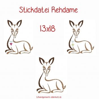 Stickdatei Rehdame 13x18