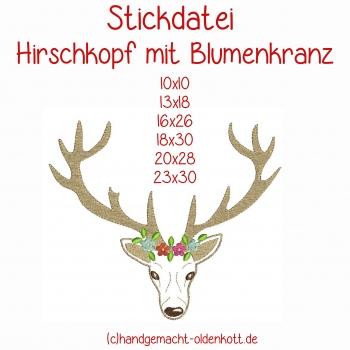 Stickdatei Hirschkopf mit Blumenkranz