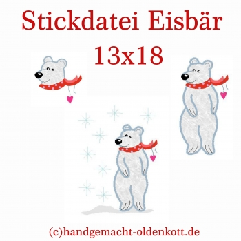 Stickdatei Eisbaer Applikation 13x18