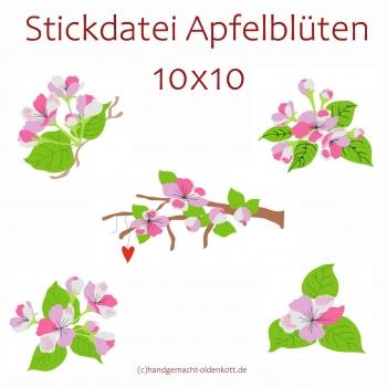 Stickdatei Serie Apfelblueten 10x10