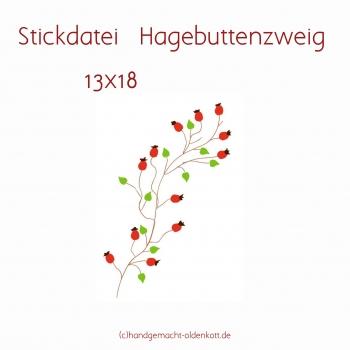 Stickdatei Hagebuttenzweig 13x18