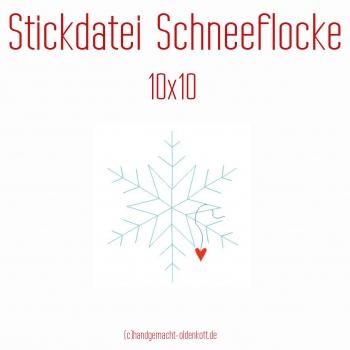 Stickdatei Schneeflocke 10x10
