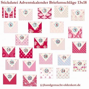Stickdatei Adventskalender Umschlaege 13x18