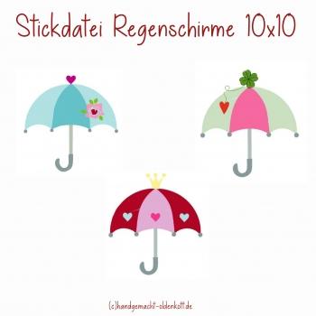 Stickdatei Regenschirme 10x10