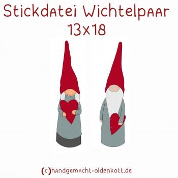 Stickdatei Wichtelpaar 13x18