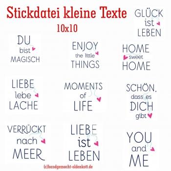 Stickdatei Kleine Texte 10x10
