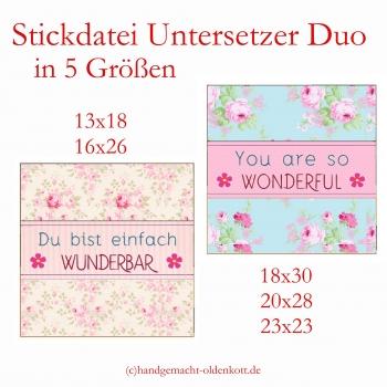 Stickdatei Untersetzer Duo ith 5 Größen