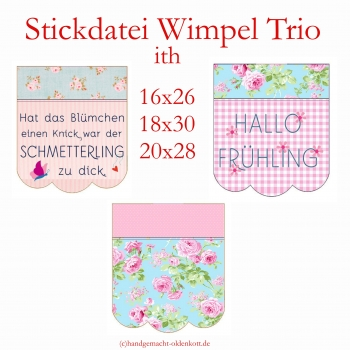 Stickdatei Wimpeltrio ith