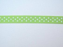 Dekoband hellgrün mit weissen Punkten